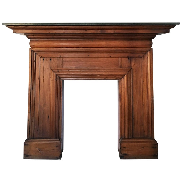 Antique Mahogany Fireplace Mantel with Green Marble Top