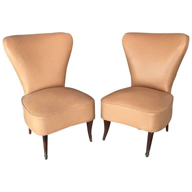 LAST SALE Pair of Italian Low Beige Leather Chairs, 1950s
