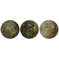 Set of Three Carved Stone Ball Garden Spheres