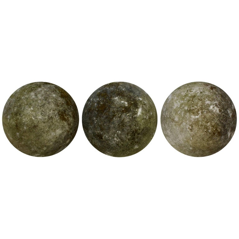 Set of Three Carved Stone Ball Garden Spheres For Sale