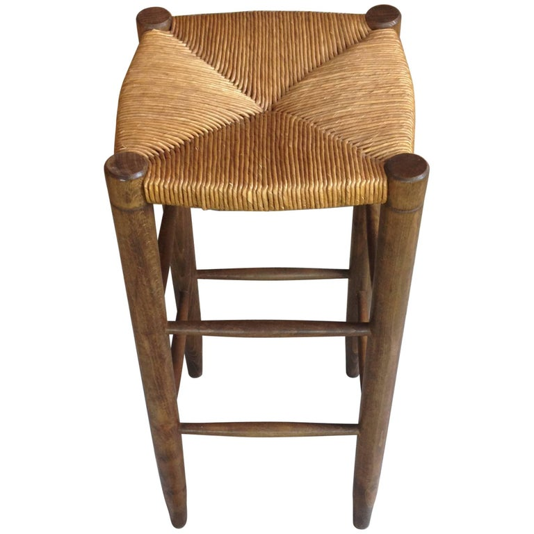 French Design of the 1950s Wooden High Stool