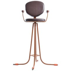 Tall Child Chair in Metal and Faux Leather, Czechoslovakia, circa 1960