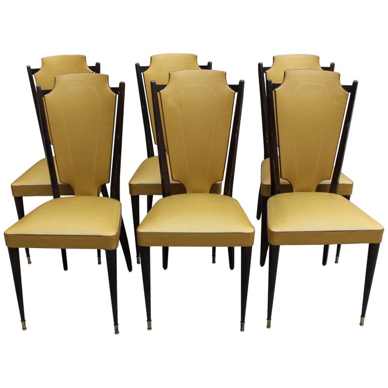 Set of Six French 1960s Black Lacquered and Vinyl Dining Chairs