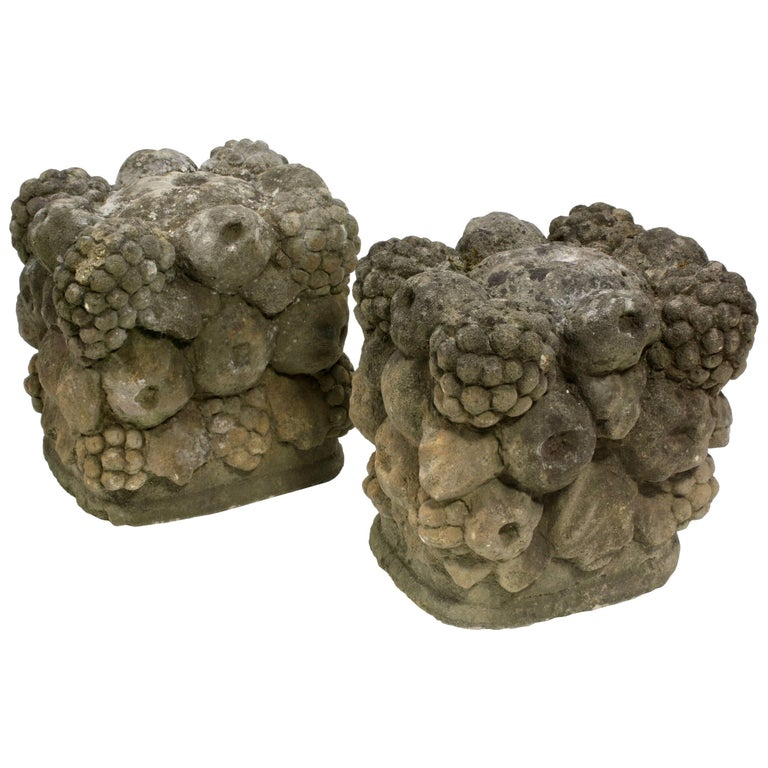 Pair of 19th Century Carved Stone Garden Seats 1