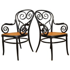 Pair of Thonet Cafe Daum Bentwood Armchairs No. 4