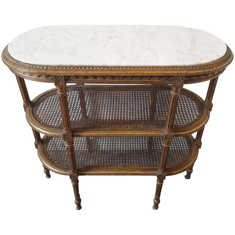 Antique Louis XVI Style Console Giltwood Marble Top