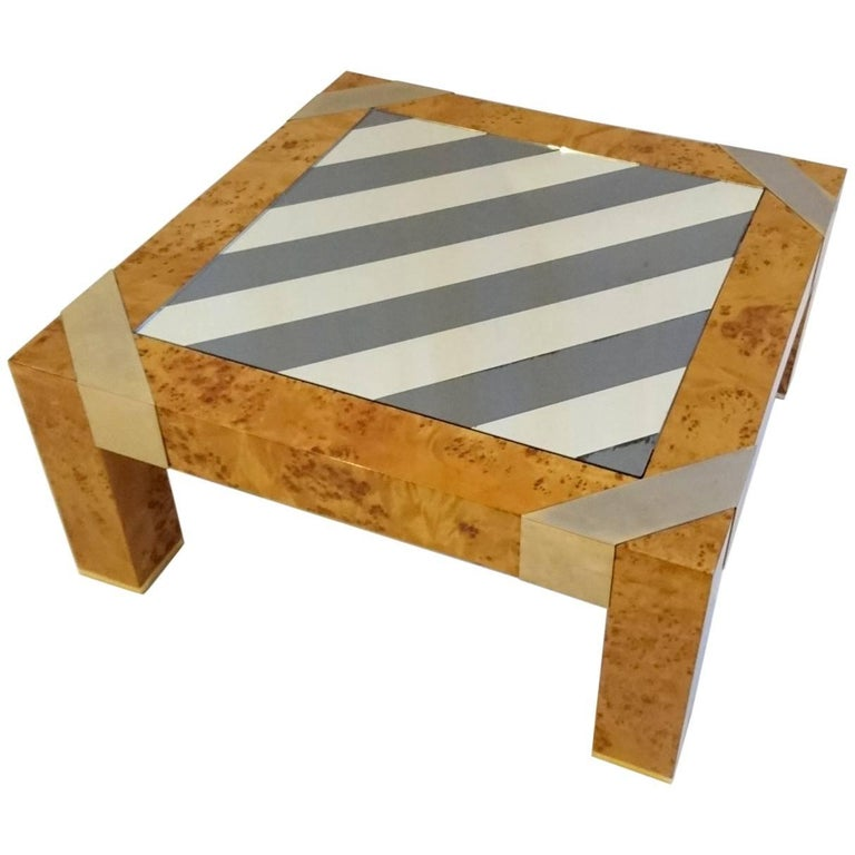 Burl Coffee Table in the Manner of Milo Baughman