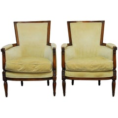 Pair of Louis XVI Bergeres in the Manner of Jansen
