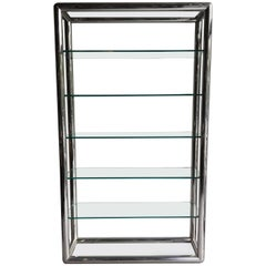 1970s Tubular Chrome and Glass Etagere