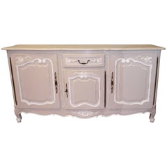 Louis XV Style Large Painted Grey and White Sideboard