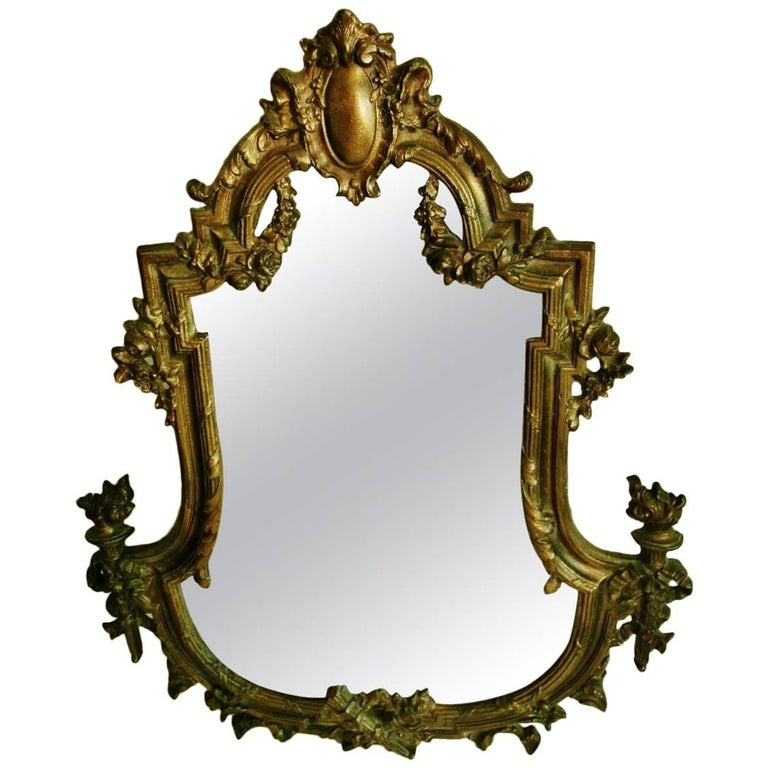 19th Century French Art Nouveau Gilt Bronze Faceted Crystal Mirror