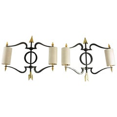 Spectacular Pair of Bronze Wall Lights in Style of André Arbus, France, 1940s