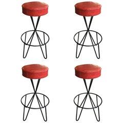 Set of Four Mid-Century Modern Swivel Stools by Paul Tuttle