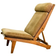 Magnificent Hans J. Wegner Oakwood Folding Lounge Chair AP71 by AP Stolen, 1968