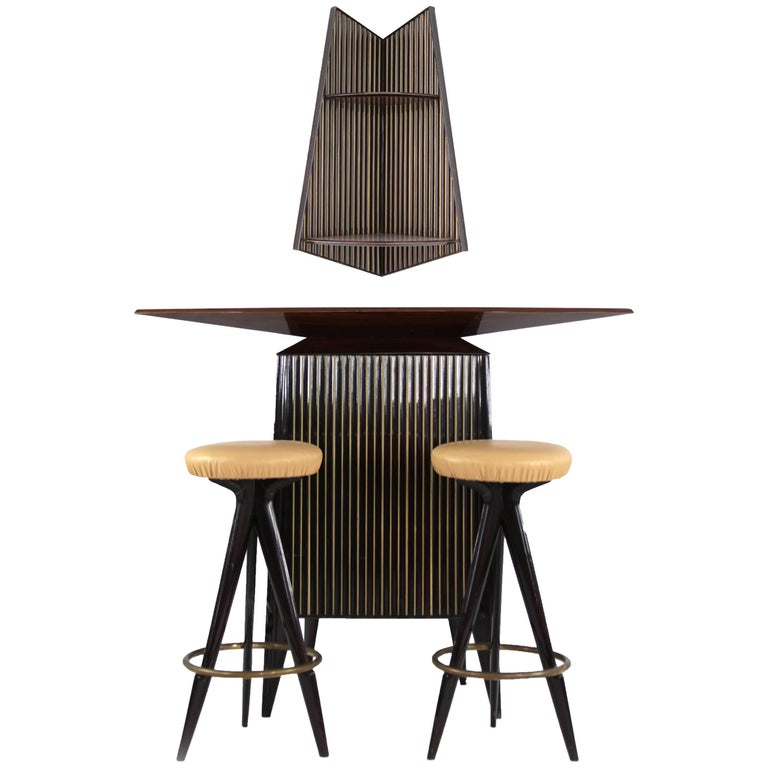Rosewood Bar in the Manner of Osvaldo Borsani, 1950s, Italian