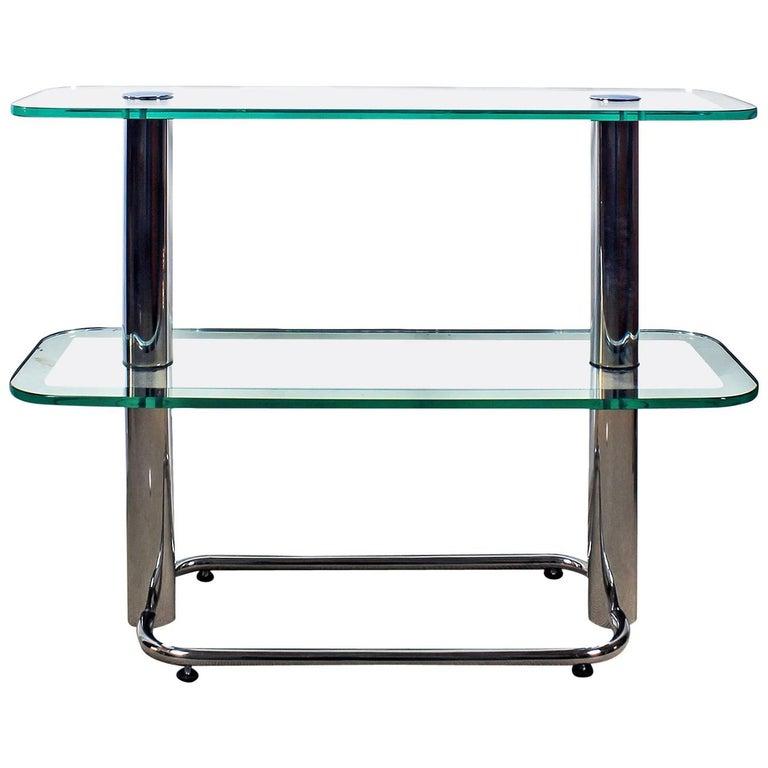 1930´s Art Deco Shelving Unit, chromed plated brass, glass . Barcelona, Spain