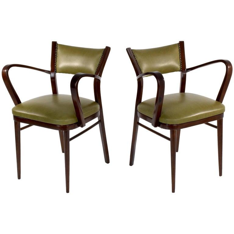 20th Century Italian Art Deco Chairs, Set of 2, 1940s