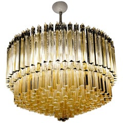 Monumental Triedri Chandelier, Venini Attrib, circa 1985, Amber/Clear Elements