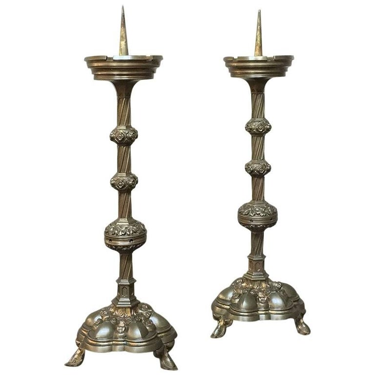 Pair of 19th Century, French Gothic Brass Candlesticks For Sale