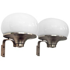 1960´s Pair of Large Rounded Wall Lights, nickel-plated brass, opaline - Italy