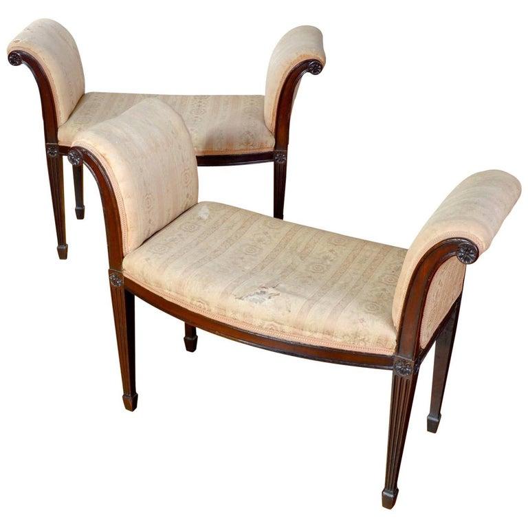 George III Pair of Mahogany Window Seats For Sale