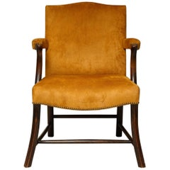 Scottish Oak and Suede Library Chair