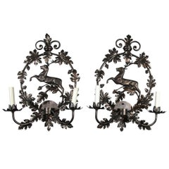 Pair of New, Old Stock Handcrafted Metal Stag Sconces