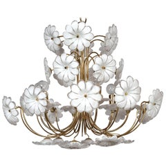 1960s Murano Venetian Glass Model Flower Chandelier