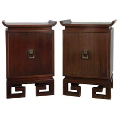 Pair of James Mont Asian Style Bedside Tables