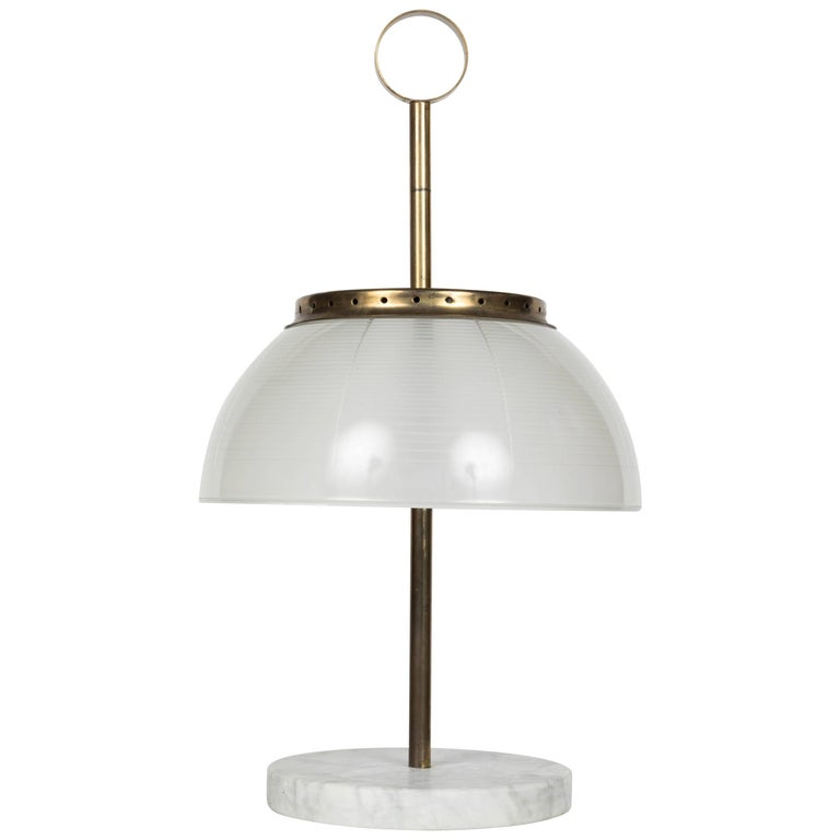 1960s Sergio Mazza Brass and Marble Table Lamp for Artemide