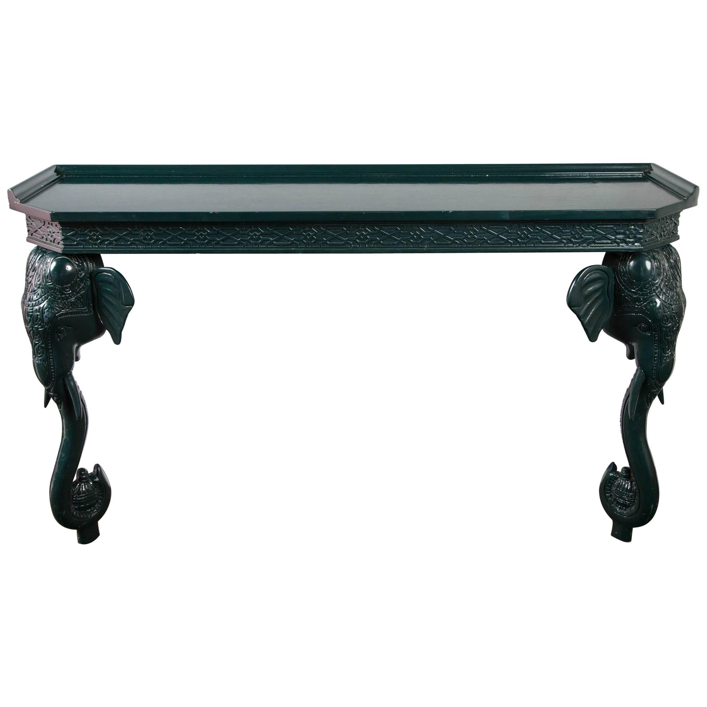 GampelStoll Green Painted Elephant Console Table at 1stdibs