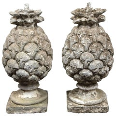 Pair of Early 20th Century Cast Stone Pineapples Garden Ornaments