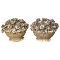 Pair of Cast Stone Baskets of Flowers from England