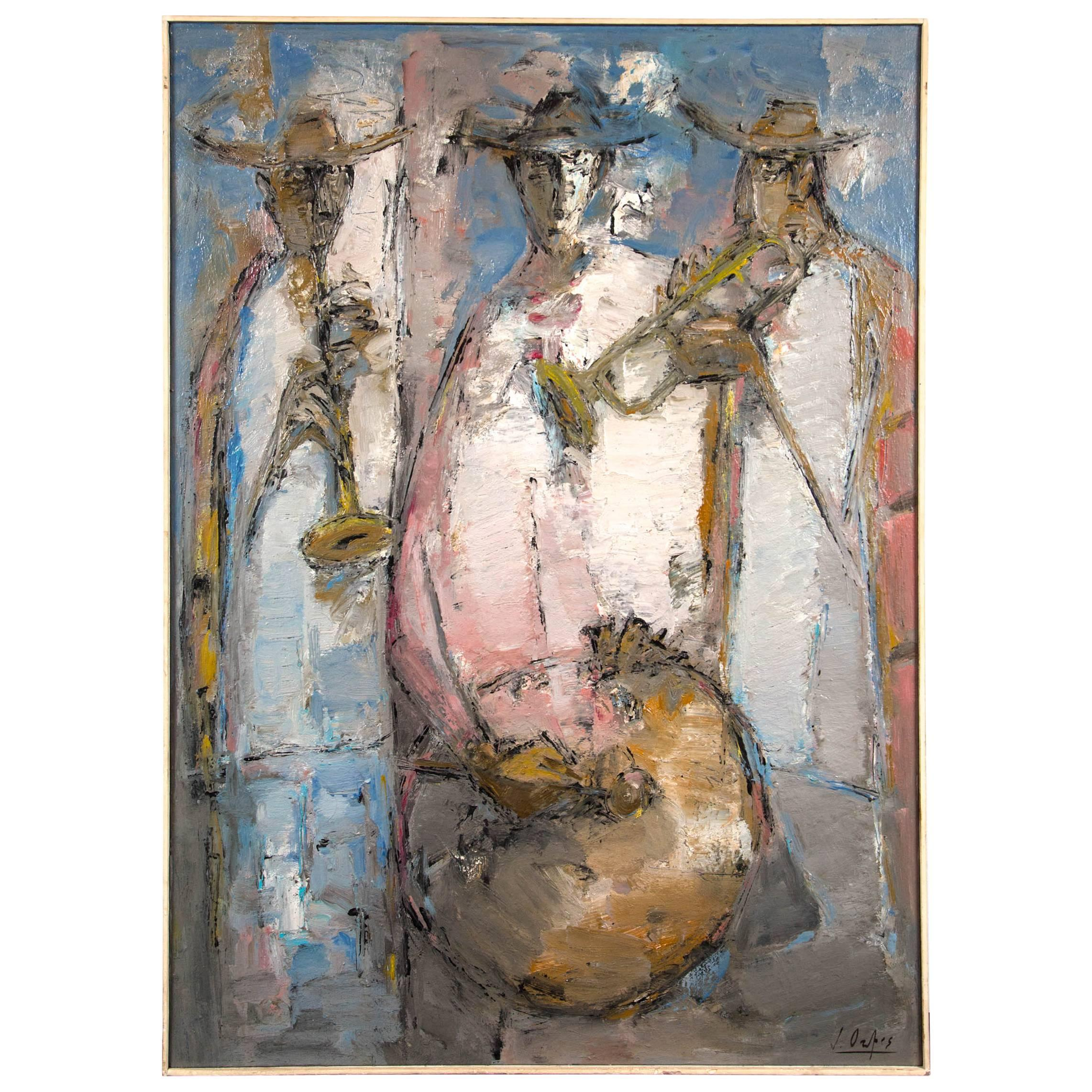 Modern Painting of 3 Musicians, Oil on Canvas, Signed