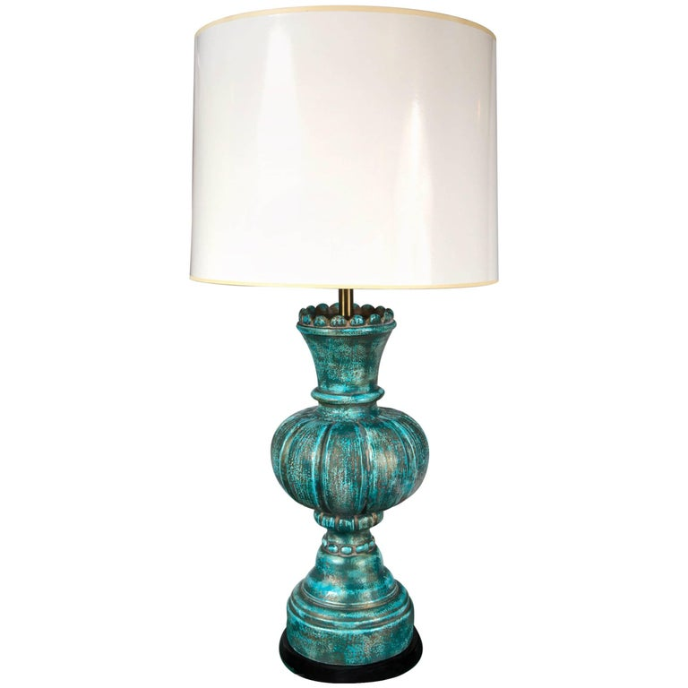 """Marble Style Large """"Chess Piece"""" Pottery Lamp"""