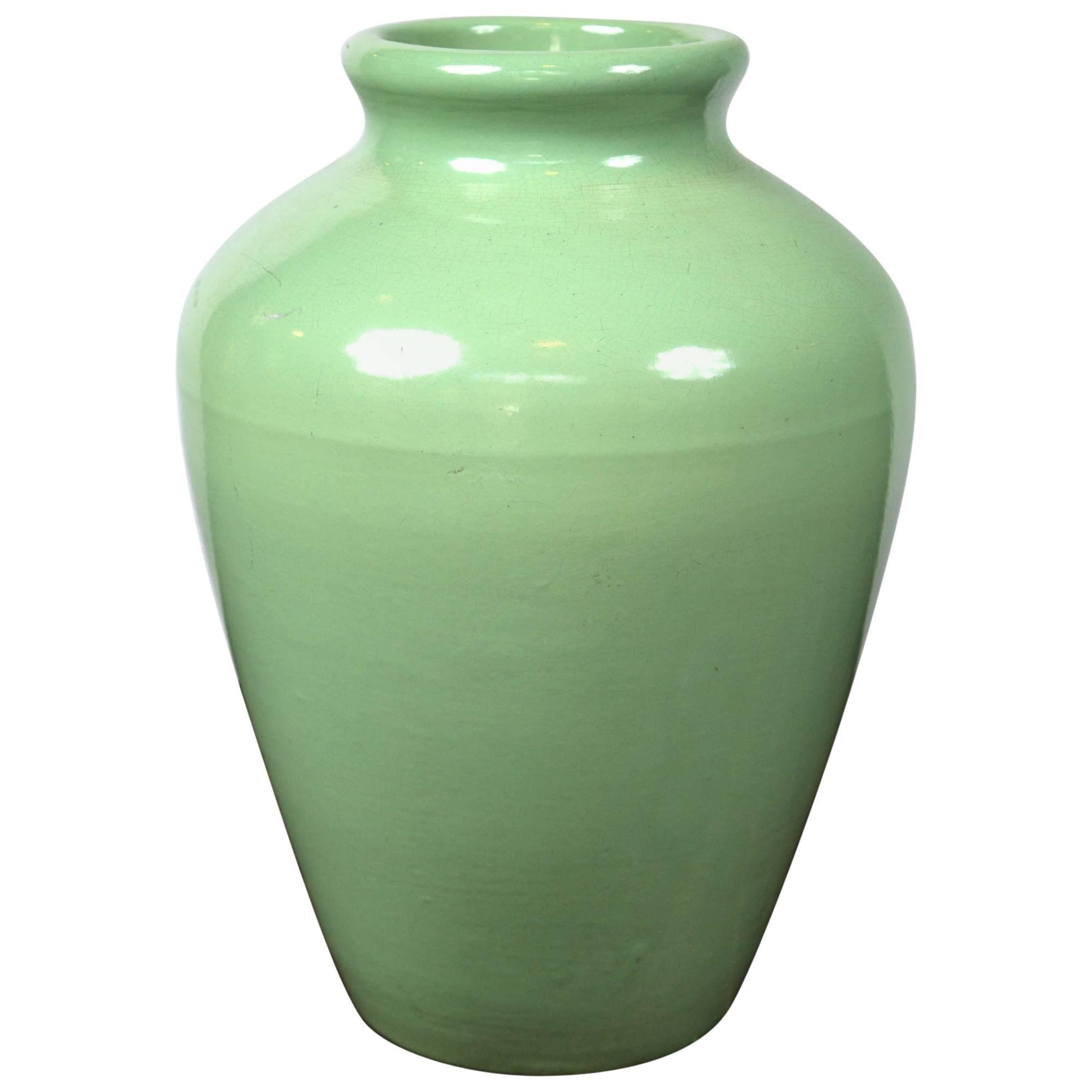 Large Green Pottery Oil Jar Urn