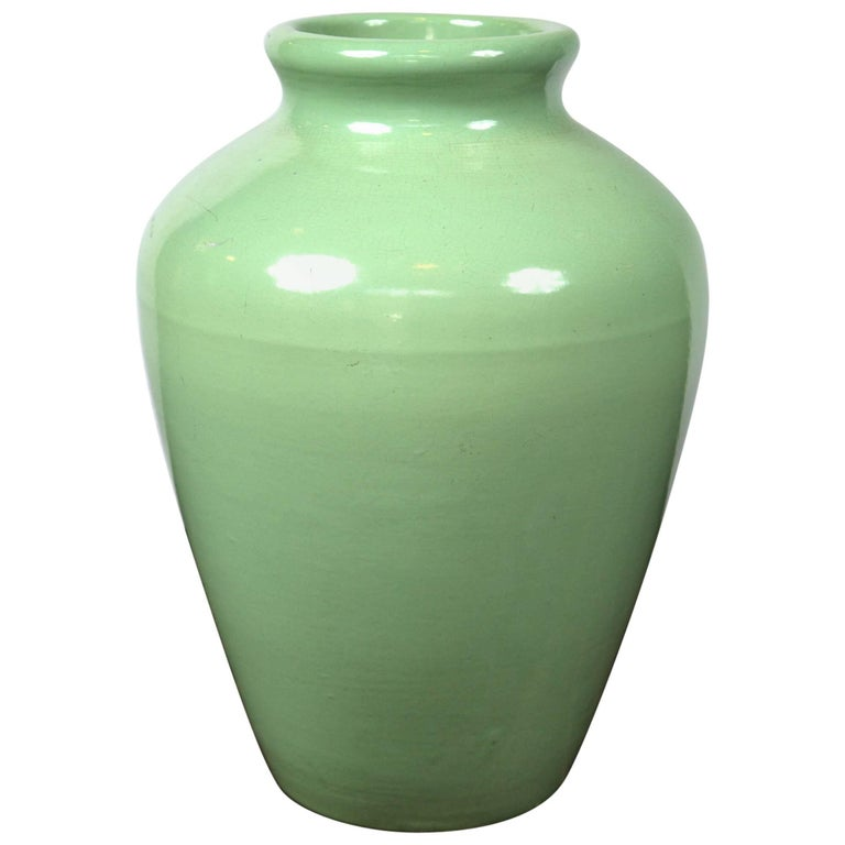 Large Green Pottery Oil Jar Urn For Sale