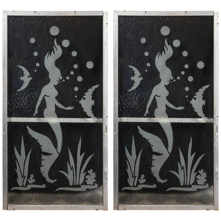 Pair of Mermaid Etched Glass Panels