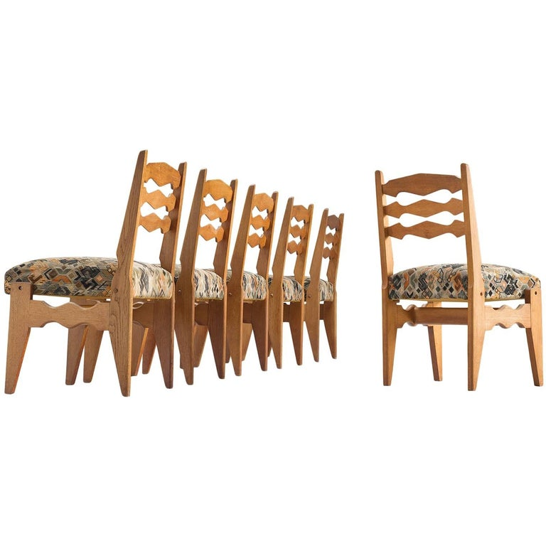 Guillerme & Chambron Set of Six Dining Chairs in Oak