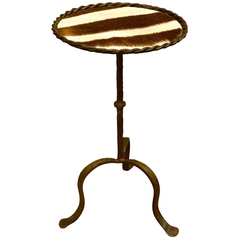 French Modern Gilt Iron and Zebra Hide Side Table