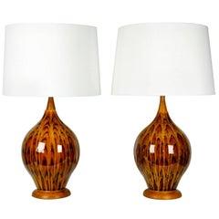 Vintage Italian Glazed Porcelain, Pair of Table Lamps