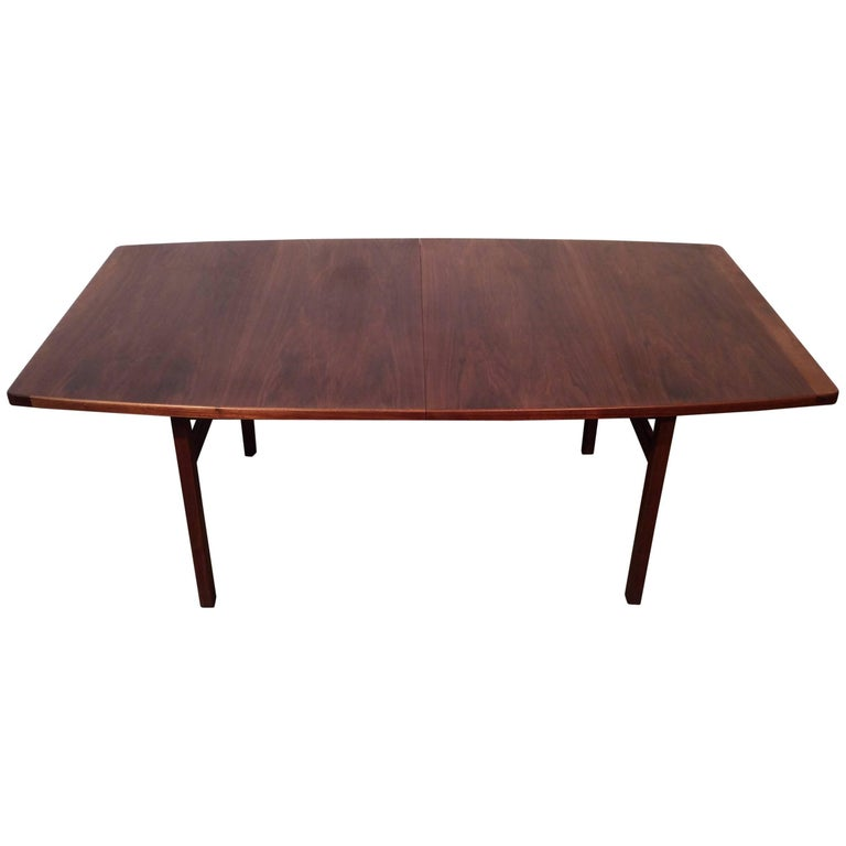 Quality Walnut Dining Table With Two Leaves Designed By Jens Risom Midcentury For