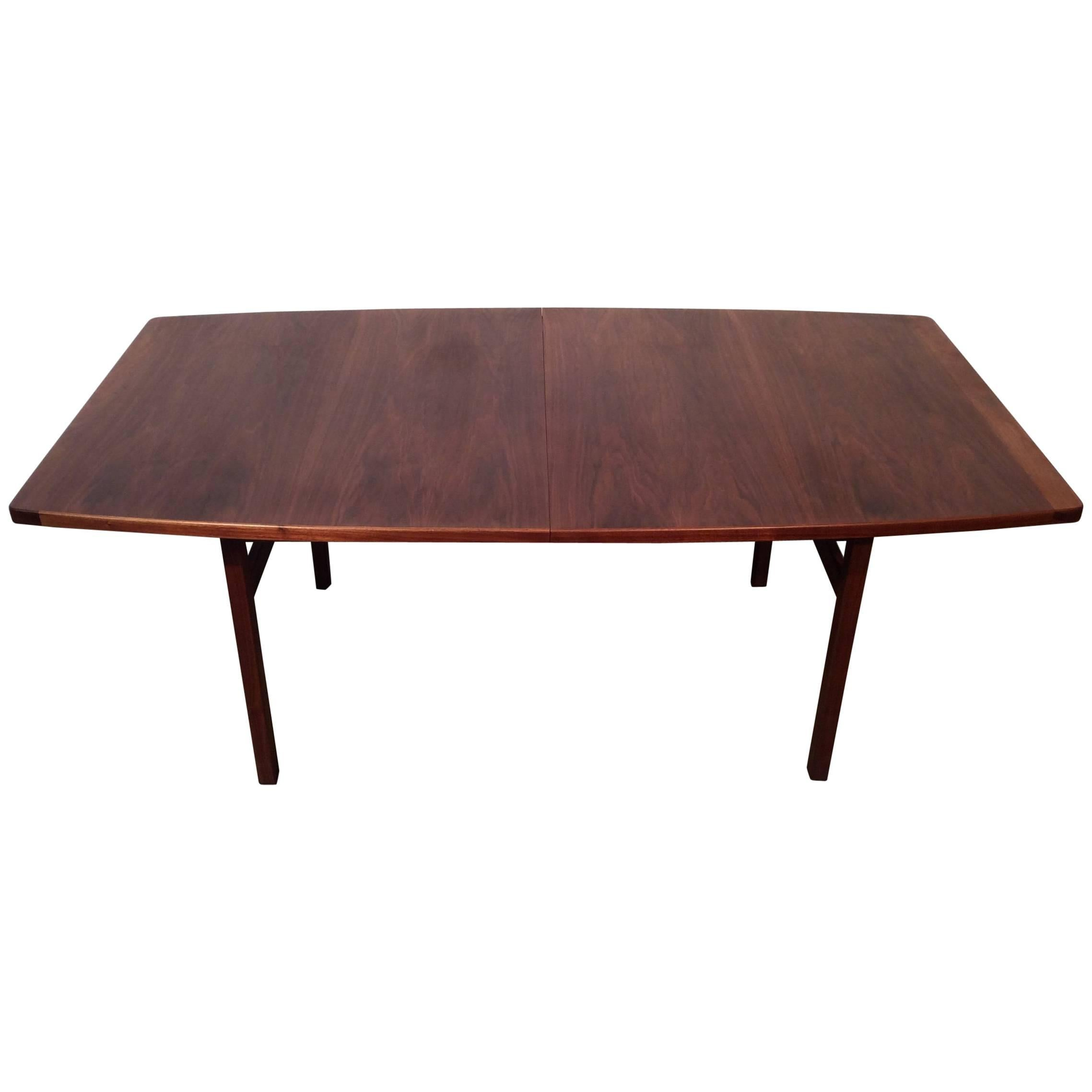 Quality Walnut Dining Table With Two Leaves Designed By Jens Risom,  Midcentury Part 67