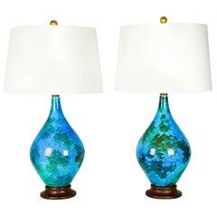 Vintage Glazed Ceramic Table or Task Lamps, Pair