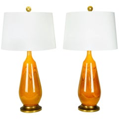 Vintage Pair of Porcelain Table Lamps with Brass Base