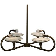 Tubular Brass and Mercury Glass Reflector Chandelier