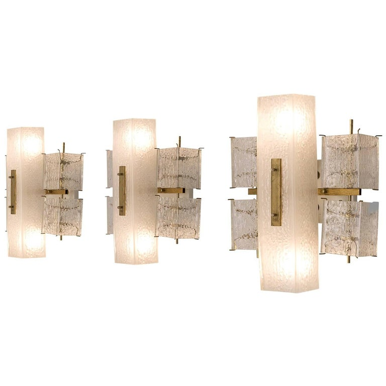 Set of Three Wall Lights with Structured Glass and Brass