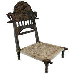 Antique Indian Folding Carved Teak Pida Low Chair