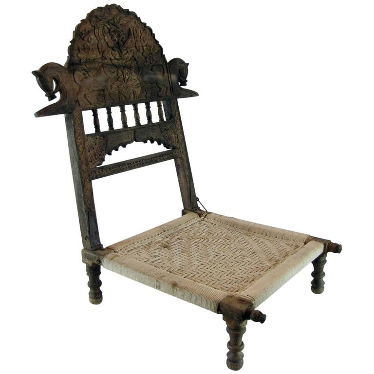 Antique Indian Folding Carved Teak Pida Low Chair
