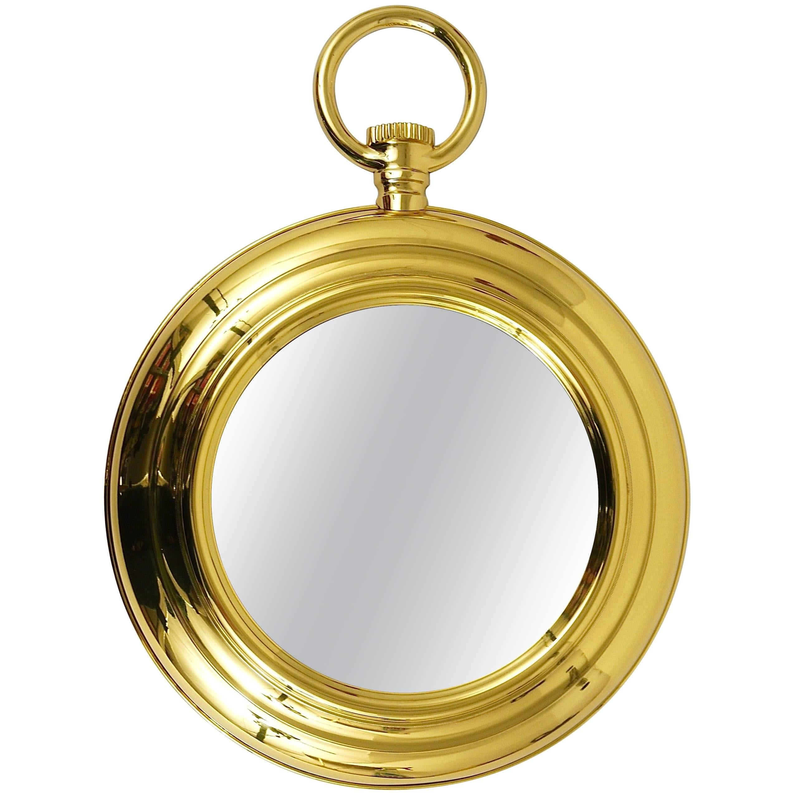 Midcentury Brass Pocket Watch Wall Mirror, Attributed to Piero ...